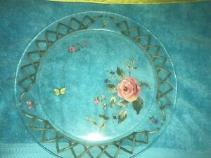 BEAUTIFUL ARCOROC FRANCE SERVING PLATTER TRAY PLATE PINK FLOWERS ROSE