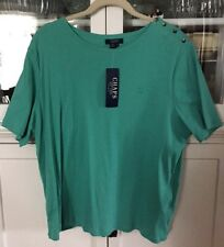 CHAPS WOMAN PLUS 3X GREEN knit SHIRT BLOUSE TOP short sleeve NEW TAGS