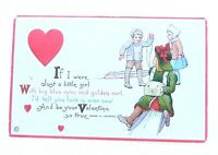 Antique 1919 Victorian Color Embossed Children Valentine's Day Signed Postcard