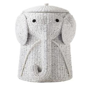 Animal 16 in. W Laundry Hamper White Hand-Woven Wicker Elephant Basket Toy Bin