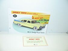 1 fiche + certif. DINKY TOYS ATLAS repro ref 191, Dodge royal sedan