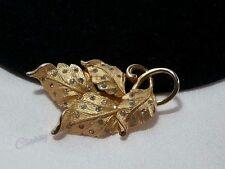 Vintage Estate Gold Pennino Rhinestone Leaf Elegant Classic Brooch Pin
