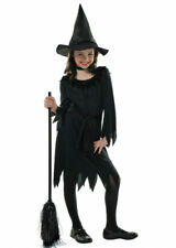 Childrens Halloween Wicked Witch Kids Scary Horror Fancy Dress Costume Black