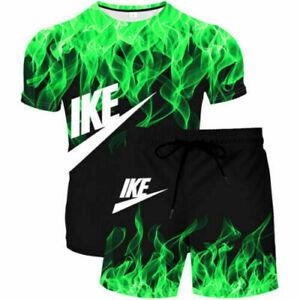 3D 2Pc Mens Short Sleeve Tracksuit Set T shirt Tops Shorts Gym Jogging Suit NK