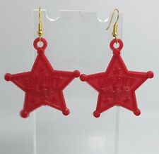 Large Red Sheriff Star Eagle Acrylic Earrings D210 Kitsch Fun 6 cm Long