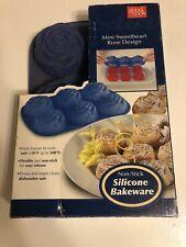 GOOD COOK Blue Silicone Bakeware Non Stick Mini Sweetheart Rose Design NIP