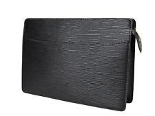 LOUIS VUITTON Pochette Homme Epi Leather Black Clutch Bag LP3436