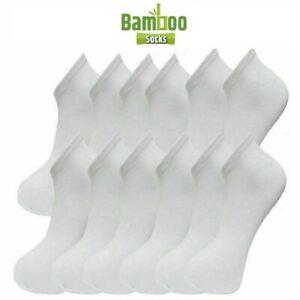 Mens BAMBOO Trainer Socks Trainer Boot Ankle Footwear Black / White 6-11 UK size