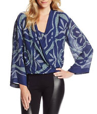 "$298 BCBG BLUE DEP COMBO ""RUTHIE"" LONG SLEEVE PRINTED WRAP BLOUSE TOP NWT S"