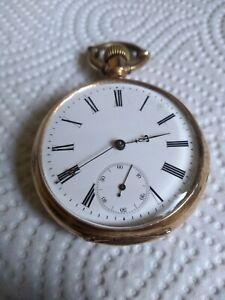 Antike Herrentaschenuhr Open Face Lepine 585 14 Karat um 1900 ca. 81 Gramm