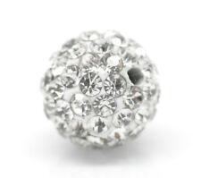 10 Perles Intercalaires pâte Polymère Rond Strass Blanc 10mm