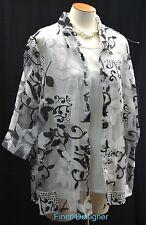 Maggie Barnes mock 2pc Top blouse matte jersey cami Shirt burnout cover 1X NEW