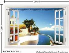 Enorme finestra 3D Mar dei Caraibi Oceano CIELO Decalcomanie Parete Arte Murale Sfondo Lounge