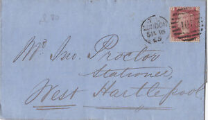 1865 QV LONDON WRAPPER WITH A SUPERB 1d PENNY RED STAMP PLATE 80 ~ 99p START!