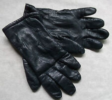 VINTAGE WOMENS LEATHER GLOVES 1970'S 1980'S DARKEST NAVY RETRO MEDIUM LARGE 7.5