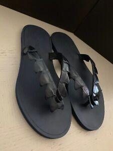 NIB $620 Bottega Veneta Men Crocodile Flip Flop Sandal Shoes DK Navy 8 US