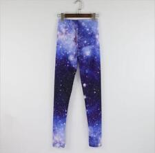 Leggings Chicas al Por Mayor azul Galaxy Star Printed Pantalón Legging para Mujer C0008