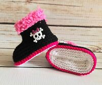 Baby Girl Goth Emo Punk Hand Knitted Booties/Boots Skull Crossbones 0-12M Black