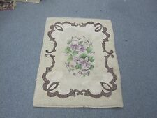 "Vintage Primitive Nova Scotia Canada Hooked Rug Handmade Floral 25"" x 36"""