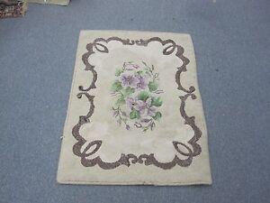 "Vintage Primitive Nova Scotia Canada Hooked Rug Handmade Shabby Floral 24"" x 36"""