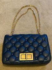 Womens Royal Blue, Red and Gold Evening Bag with Gold Chain