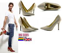 MENS WOMENS DRAG QUEEN CROSSDRESSER HIGH HEEL POINTED COURT SHOES LARGE SIZE