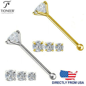 14K Solid Gold Round Cubic Zirconia Body Jewelry End Bone Nose Stud 25g 1mm-2mm