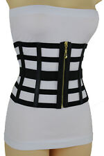 Women Gold Zipper Elastic Belt Extra Wide High Waist Black Sexy Corset L XL XXL