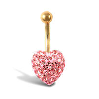 Jewelco London 9ct Gold Baby Pink Crystal Love Heart Banana Belly Bar, 10mm