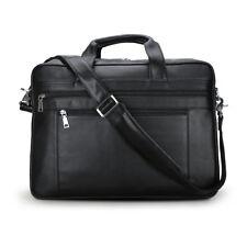 Fashion Black Men's Leather 17'' Laptop Business Briefcase Shoulder Bag Handbag