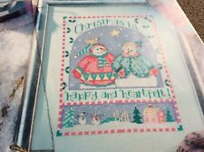 Christmas is Happy & Heartfelt message pattern cross stitch chart only / 1891