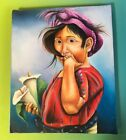 Vintage oil painting Mexican girl Woman MEXICO folk art
