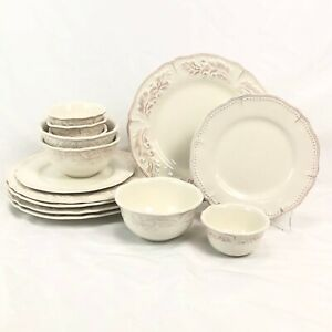 NICE 14 PC ODD LOT JCPENNEY HOME AMBERLY IVORY DINNER SALAD PLATE BOWL SAUCE