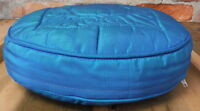 Vintage Throw Pillow Round  Blue Quilted Fabric Cover Metal Zipper Mid Century