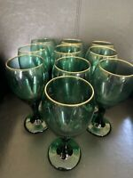 Set Of Ten (Libbey) Emerald Green Teardrop Water/Wine Goblets Gold Rim