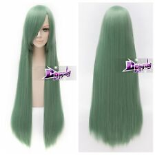 100CM Light Green Straight Hair Lolita Basic Anime Cosplay Wig Party Wig + Cap