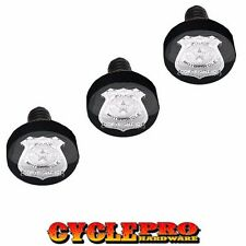 Black Billet Fairing Windshield Hardware Kit 96-13 Harley Touring - Police Badge