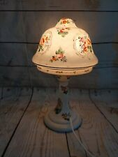 Art Deco Glass Fairy Lamp Hand Painted Floral Mushroom Shade And Base
