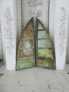 THE BEST PAIR Old Vintage LEADED Green Stained GLASS CHURCH WINDOWS Small Arched