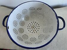 Antique heavy enamelware graniteware colander