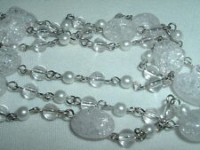Lia Sophia White Snow Crystal and Pearl 3 Strand Necklace in Gift Box