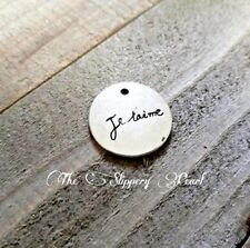 Word Charms Pendant Je Taime French Word I Love You Antiqued Silver 1 piece