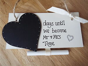 Personalised *countdown to wedding* chalkboard sign engagement gift Mr & Mrs