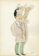 """Bob HOPE"" Caricature originale de J. GEN (Dessin au crayon aquarellé)"