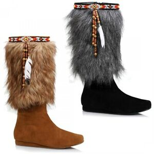Indian Girl Costume Shoes Adult Princess Pocahontas Boots Halloween Fancy Dress