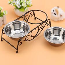 Comedero Para Perro Gato Mascota Tazón de Agua/Alimento Cuencos Doble Acero Inox