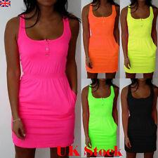 Womens Sleeveless Short Mini Dress Summer Beach Long Tops T Shirt Plus Size 6-22