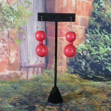 Orange Wooden Beads Dangling Earrings with