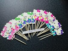 12 x HELLO KITTY Cake Picks/Cupcake Toppers , Flags Birthday Party Decorations