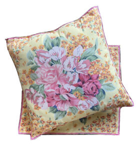 April Cornell Pillow Covers Yellow Pink Floral Rose Set Of 2 Square India Cotton